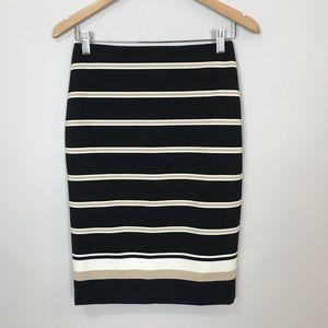 NWT WHBM Black Striped Pencil Skirt 00